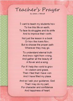 Teacher's Prayer for Every Parent and Educator More