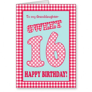 16th Birthday Card Granddaughter Red Check Polka