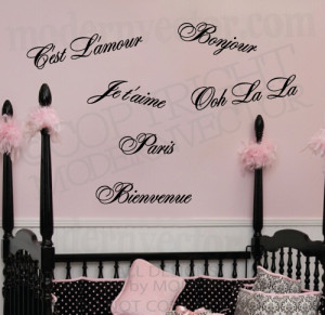 Details about PARIS THEME QUOTES Vinyl Wall Decals Ooh La La, Je t ...