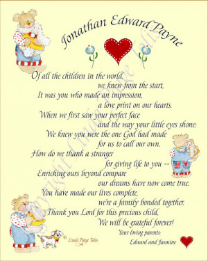 Adoption Poem Gift Personalized Boy or Girl Adoption Art Print by ...