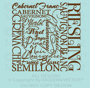 Details about KITCHEN Wine Quote Collage Quote Vinyl Wall Decal Pinot ...