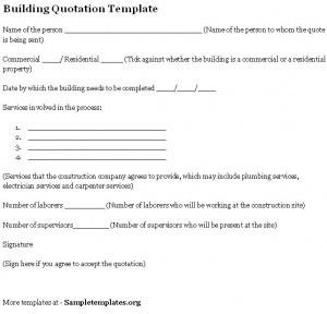 Building Quotation Template