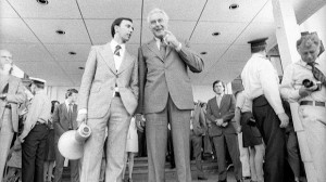 Paul Keating and Gough Whitlam on the steps of Parliament House before ...