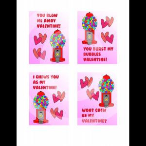Bubble Gum Valentines Cards
