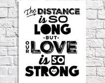 Long Distance Relationship Gift Lov e Quote Print Boyfriend Present ...