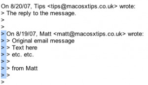 In many email clients (such as Gmail), quotes are shown as a symbol at ...