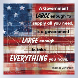 Funny Tea Party Magnet USA Flag Anti Big Government Quote