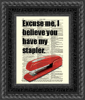 ... Stapler Print, Text Art, Vintage Dictionary Page, Office Space