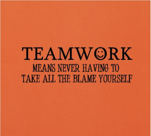 Teamwork Means Never Having To Take All The Blame Yourself