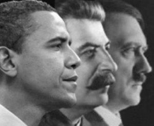 BFFs Barack Obama, Josef Stalin, and Adolf Hitler (left to right) pose ...