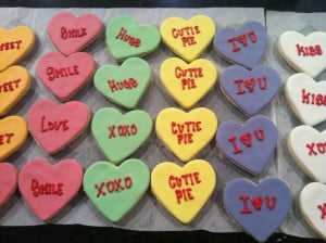 ... day they were sugar cookies topped with fun sweetheart candy sayings