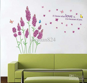Purple Floral Lavender Love Lettering Quotes Wall Decals Wall Stickers ...