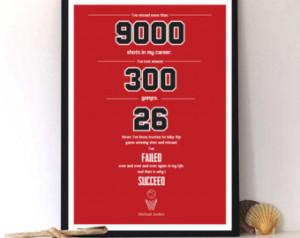 Michael Jordan quote, sports inspirational quote, motivational , print ...