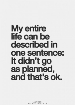 ... be described in one sentence: It didn't go as planned, and that's ok