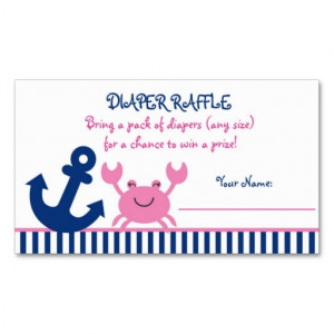 nautical_pink_crab_diaper_raffle_tickets_business_card ...