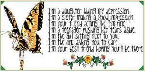 Butterfly Quote – I am a Daughter hiding my Depression