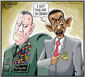 BRITISH POLITICAL CARTOONS - OBAMA'S EARNED MEDAL vs REAL MILITARY