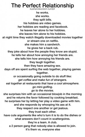 The Perfect Relationship .... according to Tumblr