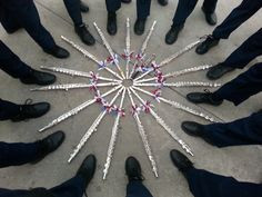 Awesome marching band flute section unity photo :D Except there's only ...