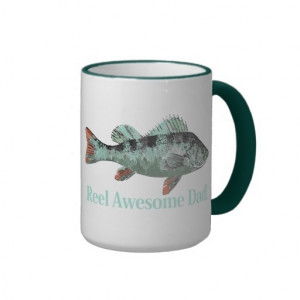Fun Reel Awesome Dad Quote & Fish Perch Teal color Mug