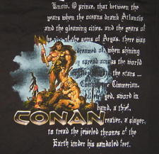 Conan The Barbarian Art Figure Skull & Girl w/ Book Quote T-Shirt Size ...