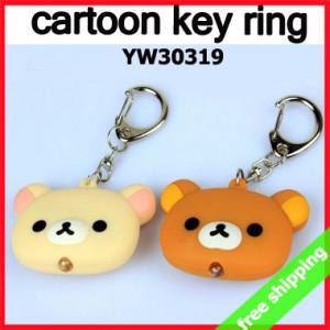 FREE SHIPPING key ring Cartoon car chain led light Rilakkuma promotion
