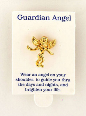 Gold-plated guardian angel pins. Metal.