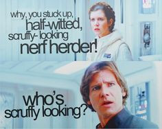 Leia + Han I love this scene because it shows us Han knows what his ...