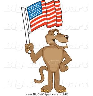Big Cat Cartoon Vector Clipart Cute Cougar Mascot Character With