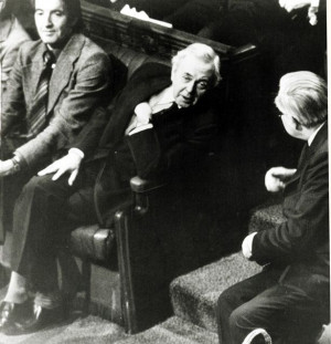James Callaghan right and former Premier Sir Harold Wilson
