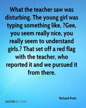 What the teacher saw was disturbing. The young girl was typing ...