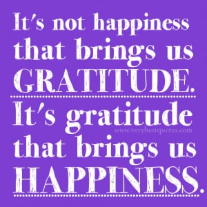 ... and happiness quotes, It's not happiness that brings us gratitude