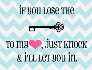 , that if you lose the key to my heart, just knock and I'll let you ...