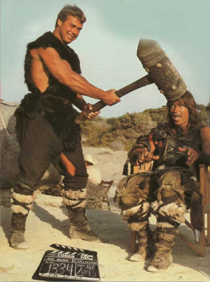 ... Thorsen and Arnold Schwarzenegger on the set of Conan The Barbarian