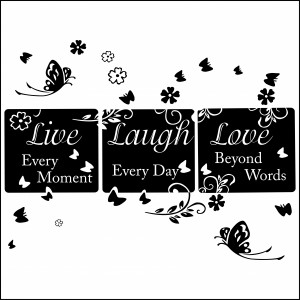 Live Laugh Love Large Flowers & Butterflies Wall Sticker