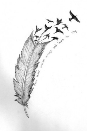 art, birds, drawing, feather, quote, quotes, tattoo, text