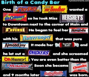 ... much time so made a story about candy bars with names from candy bars
