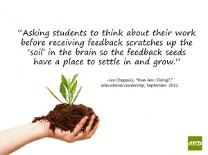... tothink about their Work before receiving feedback ~ Education Quote