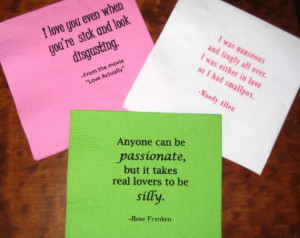 Set of 50 Gocco Cocktail Napkins featuring quotes