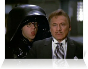 Mel Brooks (President Skroob) and Rick Moranis (Dark Helmet) in ...