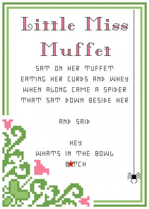 ... Miss Muffet 5X7 dirty nursery rhyme PDF counted cross stitch pattern