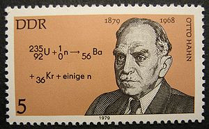 German postage stamp honoring Otto Hahn, who discovered atomic fission ...