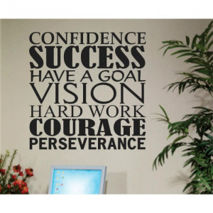 Inspirational Success Work Related Word Collage Vinyl Wall Quotes ...