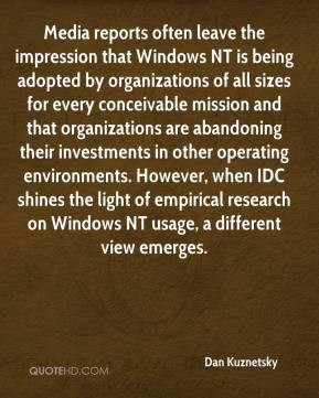reports often leave the impression that Windows NT is being adopted ...
