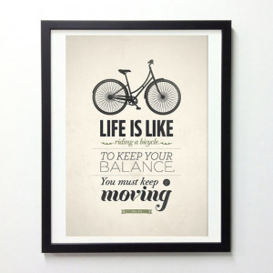 Life is Like Riding a Bicycle Quote Print by Neue Graphic modern ...