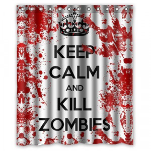 Funny-Sayings-Keep-Calm-and-Kill-Zombies-Waterproof-Bathroom-Shower ...