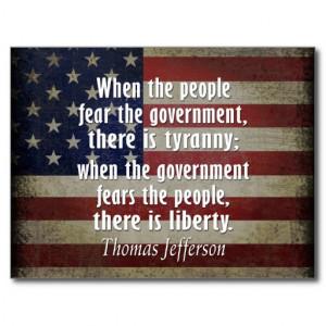 Thomas Jefferson Quote on Liberty and Tyranny Postcard