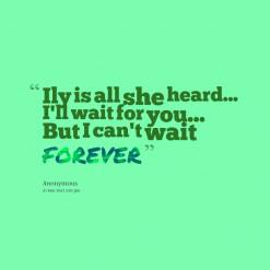 ... is all she heard... I\'ll wait for you... But I can\'t wait *FOREVER