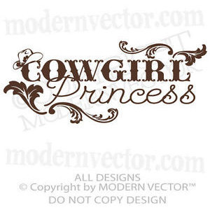 COWGIRL PRINCESS Quote Vinyl Wall Decal Girls Country Bedroom ...