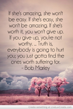 beautiful, bob marley, cute, inspirational, love, pretty, quote ...
